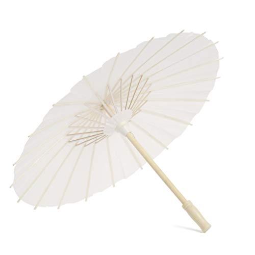NUOBESTY Weißes Papier Sonnenschirm Regenschirm Hochzeitsfest Sonnenschirm Hochzeitsfest Zugunsten 40Cm
