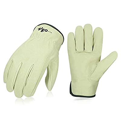 Vgo 3Pairs Unlined Men's Pigskin Leather Work Gloves, Drivers Gloves(Light Cyan,PA9501)