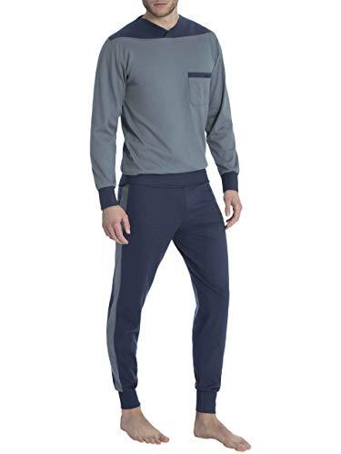 CALIDA Herren True Classics Men Zweiteiliger Schlafanzug, Mehrfarbig (Stormy Grey 558), Large