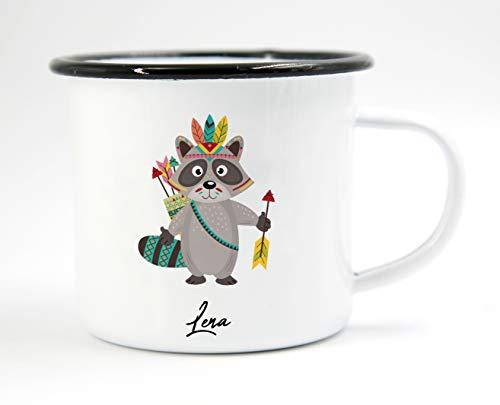 PICSonPAPER Personalisierbare Emaille-Tasse mit süßer Indianer-Waschbär-Illustration, Geschenk, Edelstahl-Becher, Metall-Tasse (Waschbär)