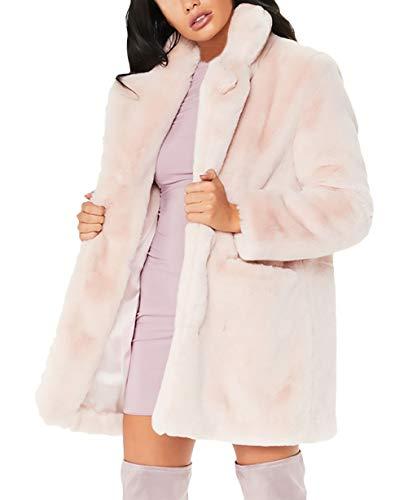 Winterparka Damen Langarm Revers Loose Casual Kunstpelz Mantel Elegante Bequeme Größen Fashion Unifarben Verdicken Warm Plüsch Pelzjacke Felljacke Coat (Color : Pink, Size : L)