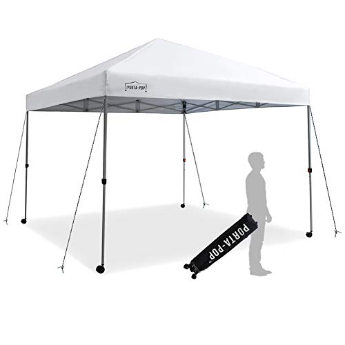 PORTA-POP One Button Easy Pop Up 10x10 ft Portable Folding Canopy Straight Leg with 4 Wheels and Deluxe Carry Bag, White