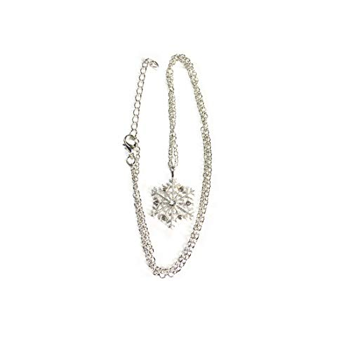 Yingwei VWH Snowflake Inlay Crystal Pendant Necklace Long Sweater Chain Necklace for Women Jewelry