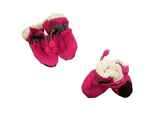 Ducomi Anti-Rutsch-Schuhe für Hunde, Schuhe für Hunde, Regen, Pfotenabdeckung, atmungsaktiv, wasserdicht, mit Fellfutter und rutschfester Sohle (Pink, L)