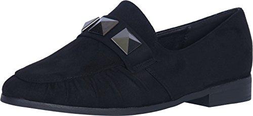 Catherine Malandrino Women's Studded Slip-On Loafer, Black Suede, 8 B(M) US