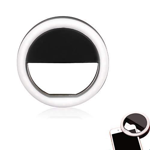 Selfie Light Ring Light Handige USB Oplaadbare Nacht Selfie Camera Light met 3 Instelbare Helderheden 36 Markante LED's Ring Light Om op Te Klikken,Black