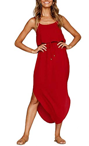 OURS Women's Casual Red Party Cocktail Dresses Sleeveless Sundress Split Beach Midi Dress (Red, XL)