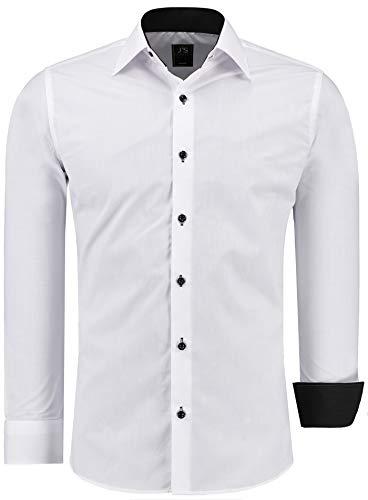 J'S FASHION Herren-Hemd - Vergleichssieger 2019* - Slim-Fit - Langarm-Hemd - Bügelleicht - EU Größen: S bis 6XL - Weiß mit Kontrast XXL