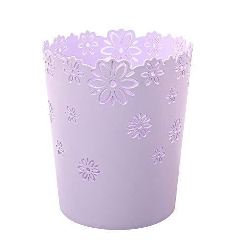 Cxssxling Papierkorb, Büromülleimer, Kunststoff, Abfalleimer für Schlafzimmer, hohl, Blume und Spitze
