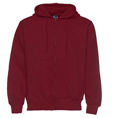 Sudadera con capucha para hombre con capucha y cremallera frontal, color a todo color, sudadera con capucha para hombre, color rojo vino, XXXL
