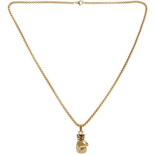VORA Jewelry Collar para Hombre - Cadena de Guantes de Boxeo Colgante, 55Cm Ajustable - Acero Inoxidable - para Hombres y Mujeres - Color Oro - Longitud 55 Cm - con Bolsa de Regalo