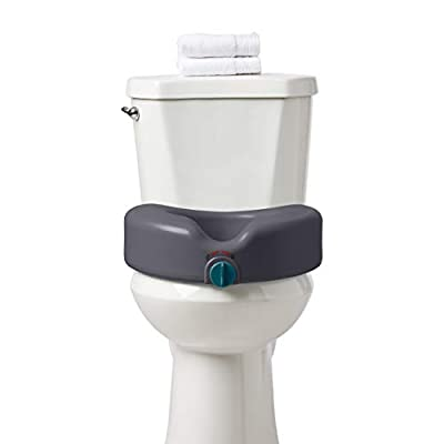 Medline Heavy Duty Raised Toilet Seat, Elevated Toilet Seat Riser is Infused with Microban Antimicrobial Protection, Gray from Medline Industries Healthcare