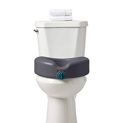 Medline Heavy Duty Raised Toilet Seat, Elevated Toilet Seat Riser is Infused with Microban Antimicrobial Protection, Gray
