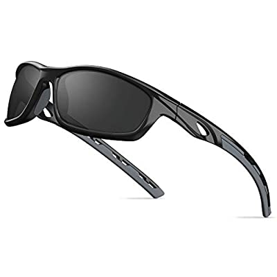 TOREGE Polarized Sports Sunglasses For Man Women Cycling Running Fishing Golf TR90 Unbreakable Frame TR08 (Black&Grey&Grey Lens)