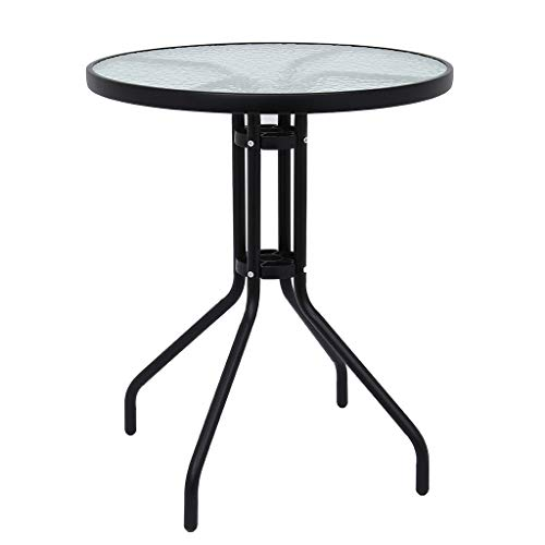 Patio Side Table Plant Stands Outdoor Accent Table Small Table Glass Top Round Balcony Coffee Table 24x31in UK STOCK