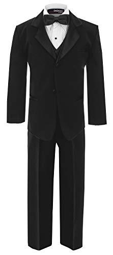 Little Boy's Usher Tuxedo Suit No Tail G210 (4T, Black)