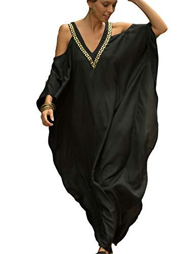 Bsubseach Women Cold Shoulder V Neck Plus Size Bikini Swimsuit Cover Ups Beach Maxi Dress Black