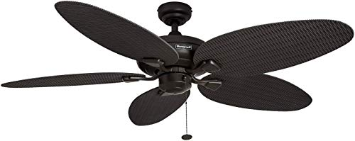 Honeywell Duvall 52-Inch Tropical Ceiling Fan with Five Wet Rated Wicker...