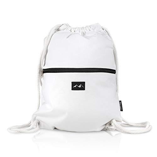 Santa Perago NEU Turnbeutel Blanc Weiß 100% Bio Baumwoll Turnbeutel | als Sportbeutel für Damen & Herren mit Reißverschluss | in 8 hochwertigen Designs