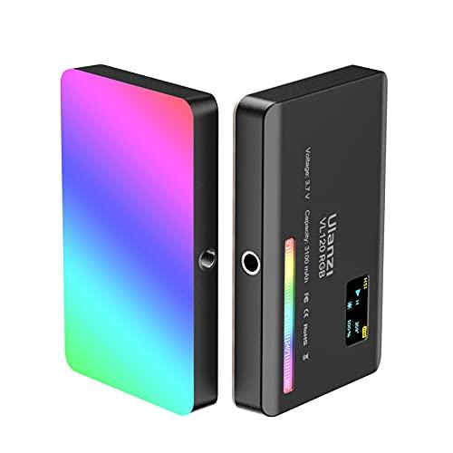 Festnight VL120 RGB Mini luz de video LED 2500K-9000K luz de relleno regulable CRI95 + efecto de luz 20 Batería recargable incorporada con difusor de silicona adecuada para fotografía Vlog