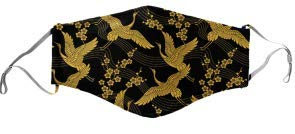 Golden Cranes Mask - Face Accessory - Japanese Pattern