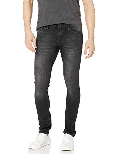 Southpole Men's 9181 Super Skinny Tech Stretch Denim Pants, Black Tint Signature, 34x30
