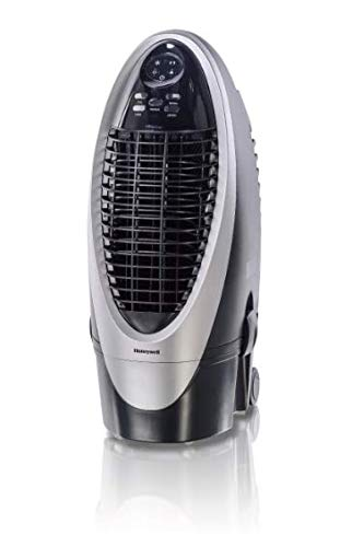 Honeywell Portable Evaporative Cooler, Fan & Humidifier with Ice Compartment, Carbon Dust Filter & Remote, CS10XE, Silver/Black