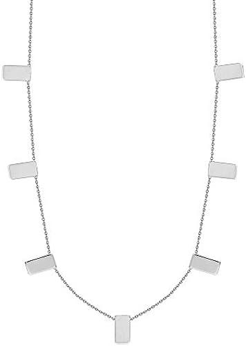 14  WeißGold verstellbar Sieben Rechtecke Halskette 46cm