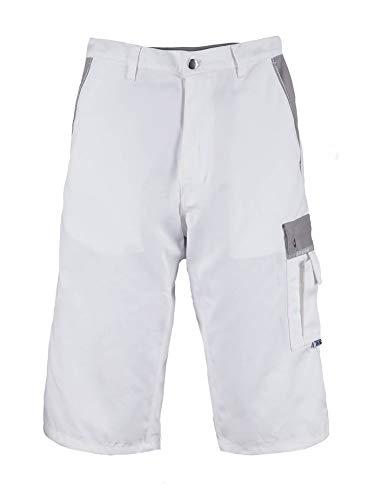 TMG® Pantalones de Trabajo Cortos para Hombres | Blanco | XS-5XL | Pantalones de Trabajo para el Verano | Multibolsillos y Reflectores | Pintores, Decoradores y Tapiceros 48