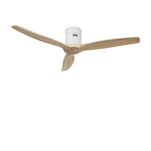 IKOHS Create WINDCALM DC-Ventilador Techo Función Invierno - Verano Ultrasilencioso (Blanco y Madera Natural)
