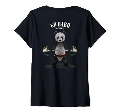Mujer Levantamiento de pesas de panda en el gimnasio Camiseta Cuello V