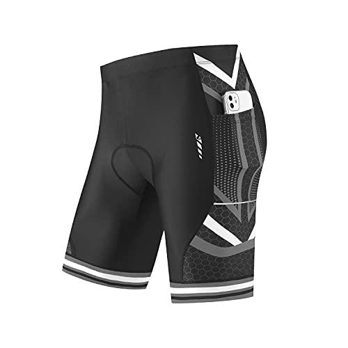 BALEAF Men's Bike Shorts 4D Padded Pockets Cycling Bicycle Riding Mountain Biking Cycle Half Pants UPF50+ Grey M