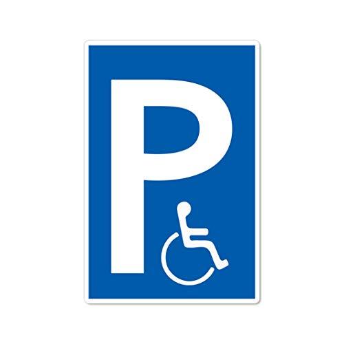 Behindertenparkplatz Schild 20 x 30 cm aus Stabiler PVC Hartschaumplatte 3mm Parkplatz für Rollstuhlfahrer parken nur mit Ausweis mit UV-Schutz von STROBO
