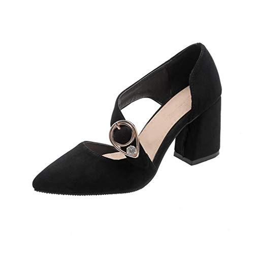 JIANMIN Zapatos de tacón alto para mujer, con puntera puntiaguda, con correa al tobillo, para boda, novia, fiesta, color negro, talla 11