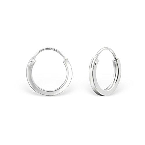 DTPsilver - Damen - Creolen Quadratisch - Ohrringe 925 Sterling Silber - Klein/Mittelgroße/Groß - Dicke 2 mm - Durchmesser 12 mm