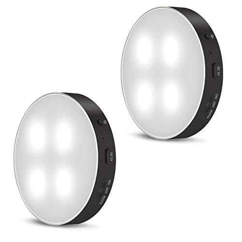 Kabelloses LED Nachtlicht mit Bewegungsmelder innen, wiederaufladbarer LED Strahler mit 3 Lichtmodi bis zu 15h Betriebszeit, 2er Set