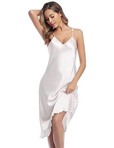Aibrou Nachthemd Damen Sexy Negligee Satin Lang Nachtwäsche Nachtkleid Sommer Trägerkleid Sleepwear mit V Ausschnitt und Verstellbarer Schultergurt