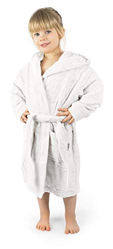 Ehrenkind® Bademantel Kinder mit Kapuze 100% Bio-Baumwolle | Kinderbademantel | Junge Mädchen | Größe 98/104 Weiß