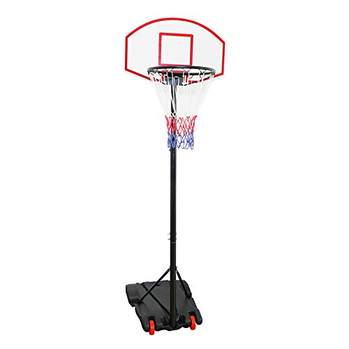 Display4top Adjustable 179-209cm Portable Basketball Hoop Net System on Wheels