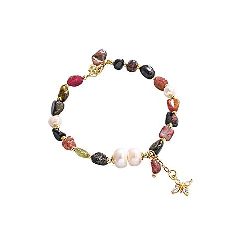 Pulsera de cuentas de flor de melocotón Zhao de cristal de fresa, pulsera de temperamento elegante de todo fósforo con perlas de agua dulce, Color