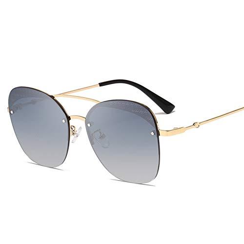 HONGYAN Sonnenbrille Randlose quadratische Sonnenbrille Damenbrille Übergroße Metallgradienten-Sonnenbrille