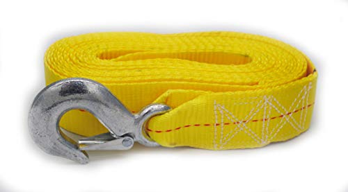 "Yellow Trailer Winch Replacement Strap 2"" x 20' and Safety Hook For Large Boats, Jet Ski, Wave Runner, Towing, Heavy Duty Equipment Or Flat Bed Tie Down (Up To 10,000 lbs)"