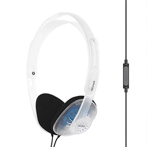 Koss KPH30iCL On-Ear-Kopfhörer, In-Line-Mikrofon und Touch-Fernbedienung, D-Profil-Design, verkabelt mit 3,5-mm-Stecker (transparent)