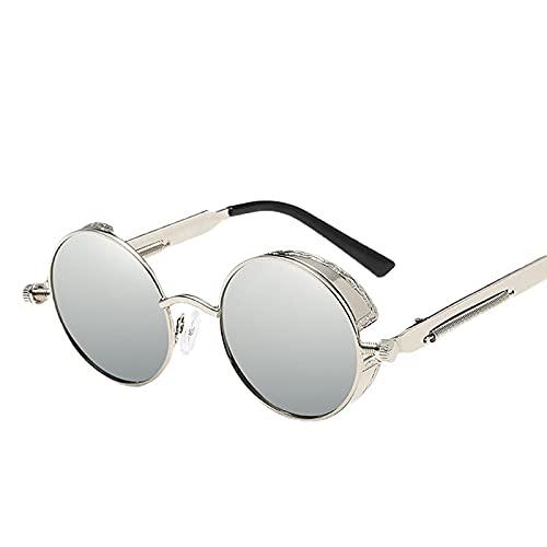 XINMAN Gafas De Sol con Montura Redonda De Metal Steampunk Trend Sunshade Gafas De Sol Reflectantes Coloridos Lentes Retro Montura Plateada Mercurio Blanco