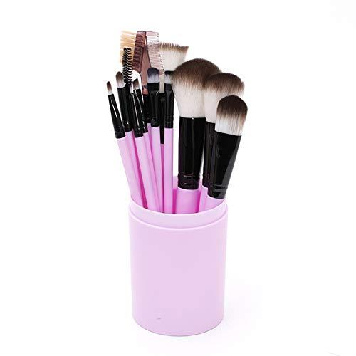 Beashine Pinceaux de Maquillage 12 pièces Pinceau Maquillage pour Liquide Poudre Crème Eyeliner et Fard à Paupières Concealer Yeux Visage Brosses Kit avec étui, Rose Clair