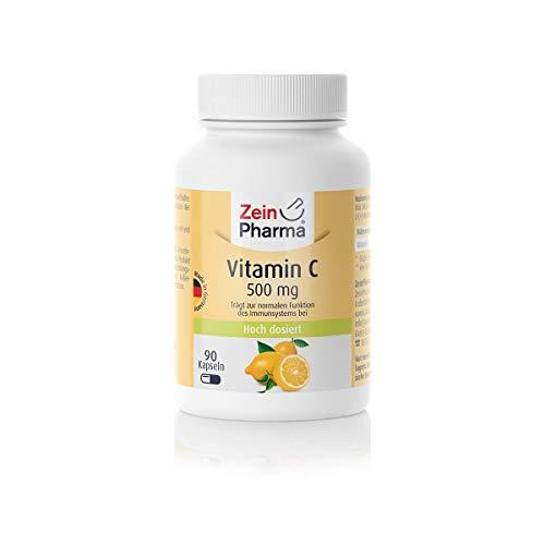 ZeinPharma Vitamin C 500 mg 90 Kapseln 3 Monate Vorrat Glutenfrei vegan koscher halal Hergestellt in Deutschland g, Multicolour, Neutral, 53.5 gramm
