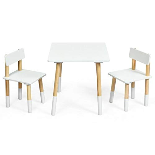 Productworld258 Kids Wooden Table & 2 Chairs Set-White