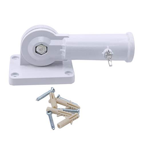 Garispace Wandfahnenmast Basis Wandhalterung Fahnenmast Einstellbar Metall Fahnenmasthalter Fahnenmast Hardware Windsock Schraube Home Dekore(Weiß)