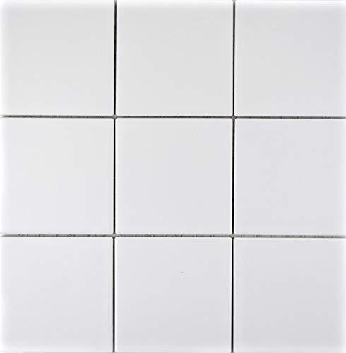 Piastrelle per mosaico, in ceramica, colore bianco opaco