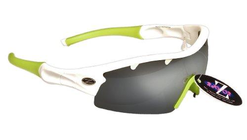 Rayzor profesionales ligeros UV400 Blanco Deportes Wrap Running Gafas de sol, con un 1 pieza con ventilación ahumada antideslumbrante Lente con espejo